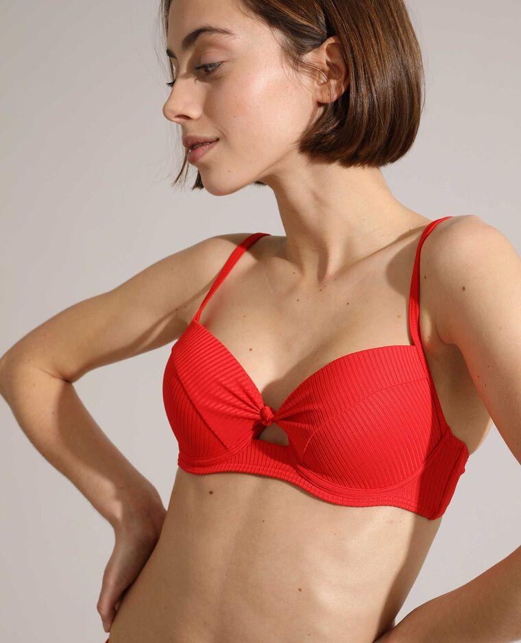 Haut de maillot corbeille push-up côtelé rouge