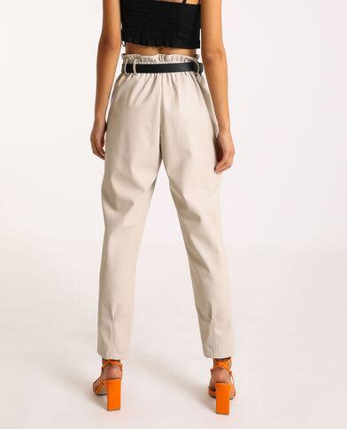 Pantalon city en simili cuir beige ficelle