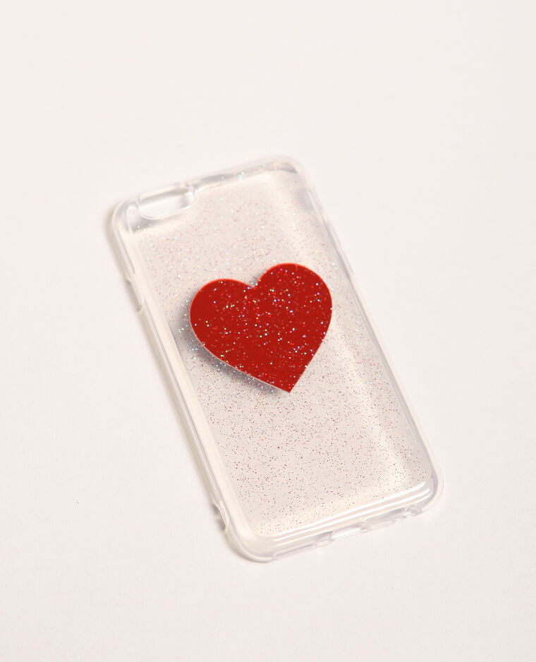 Coque compatible iPhone transparente rouge