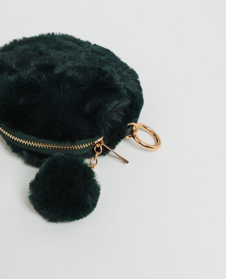 Porte-clefs en fausse fourrure vert