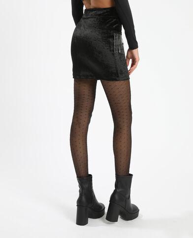 Jupe courte avec strass noir - Pimkie