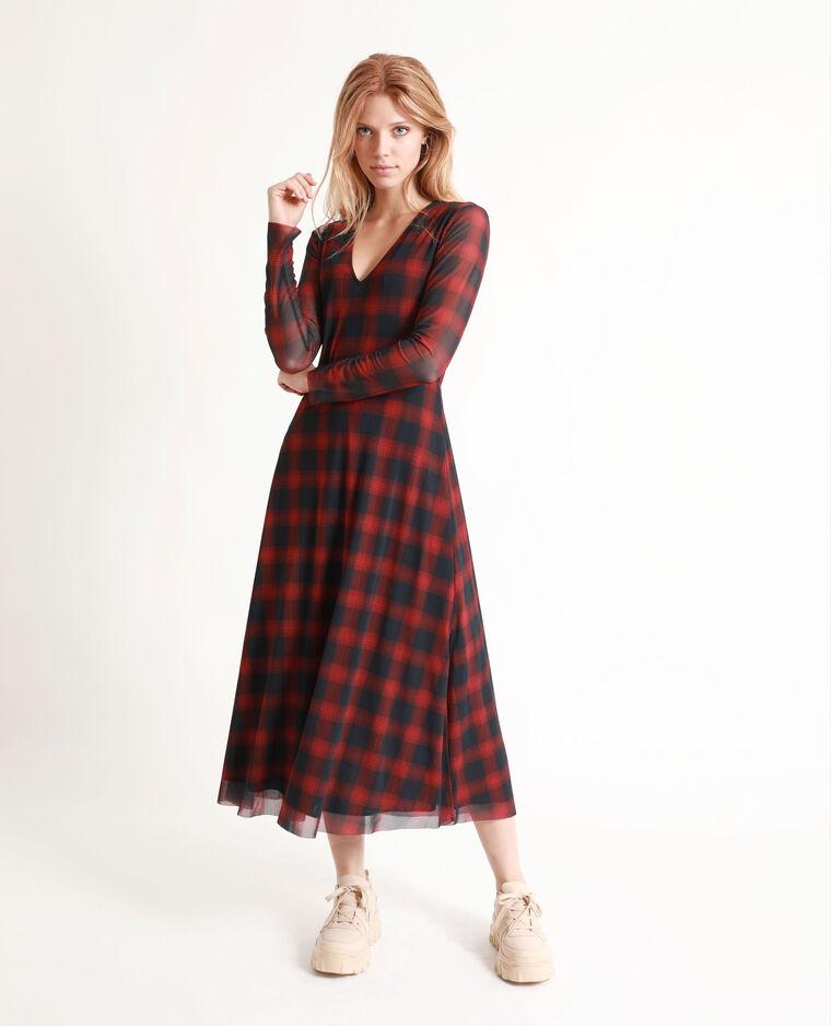 Robe Longue A Carreaux Rouge 781329338b03 Pimkie