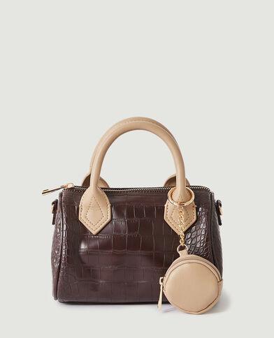 Mini sac à main croco avec pochette marron - Pimkie