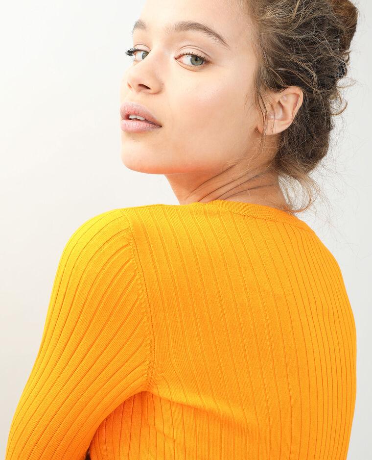 Pull court côtes plates orange - Pimkie
