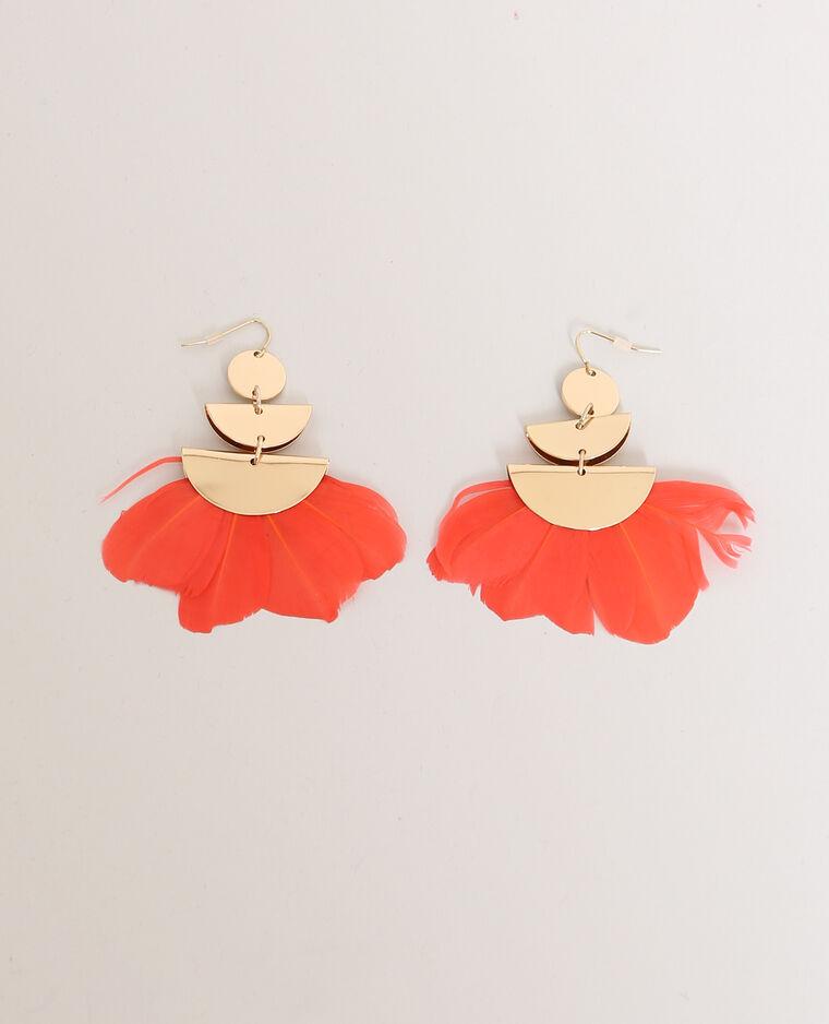 Boucles d'oreilles à plumes doré