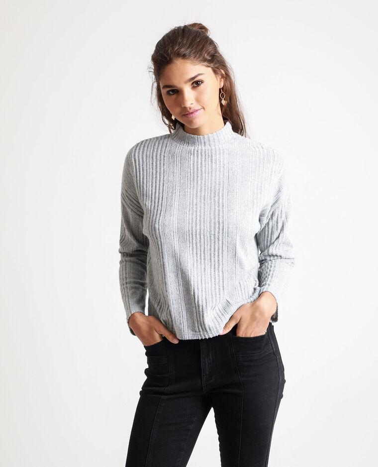 T-shirt côtelé gris chiné