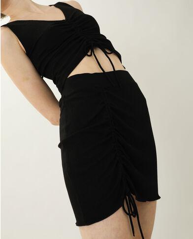 Jupe courte côtelée noir - Pimkie