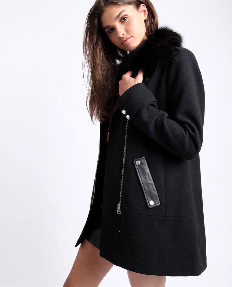 manteau semi long noir femme