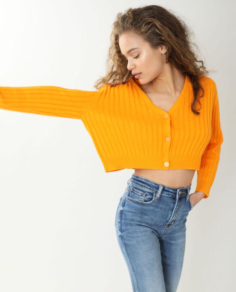 Gilet maille côtes plates orange fluo - Pimkie