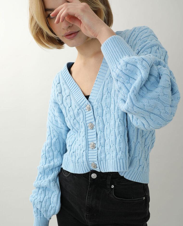 Gilet torsadé court bleu - Pimkie