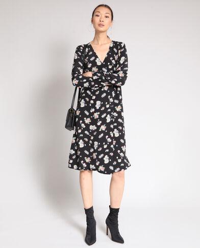 Robe midi à fleurs noir
