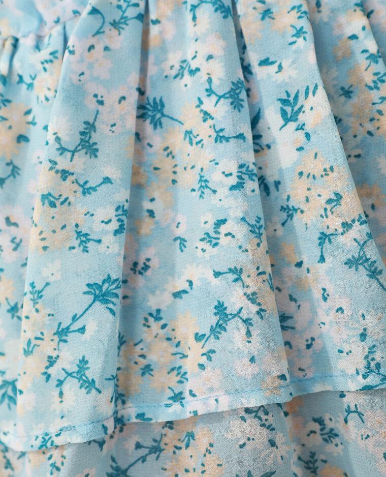 Blouse volantée fleurie bleu clair - Pimkie