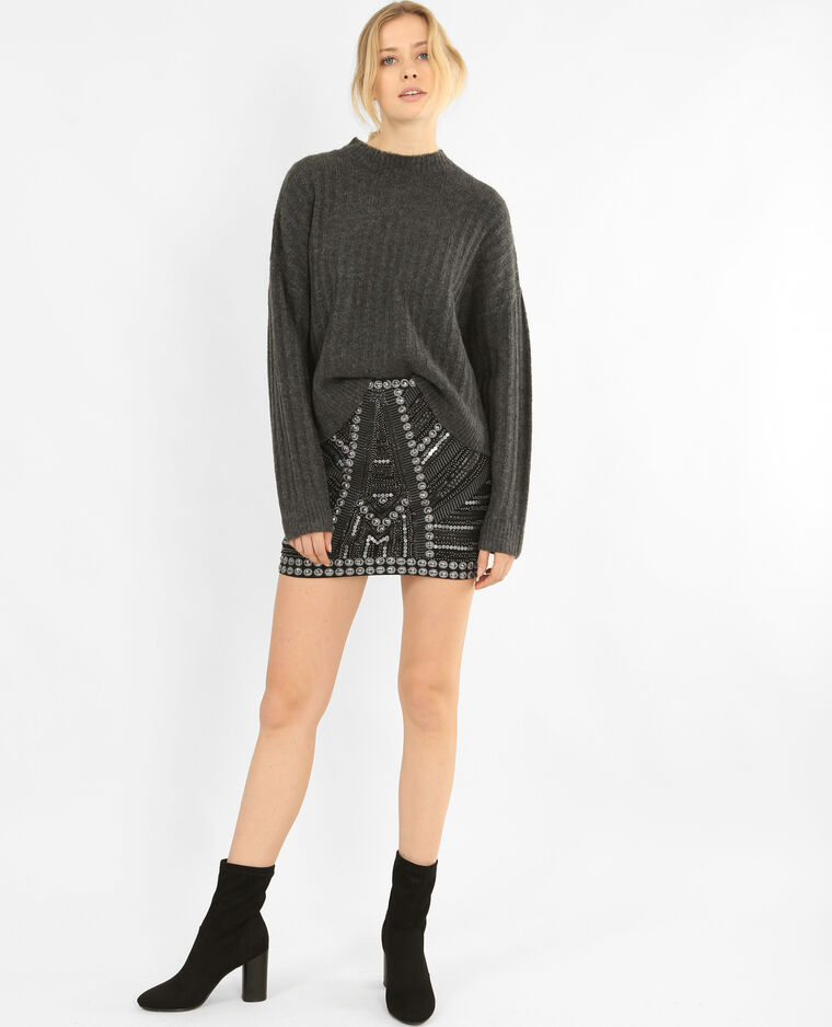 Pull oversize gris