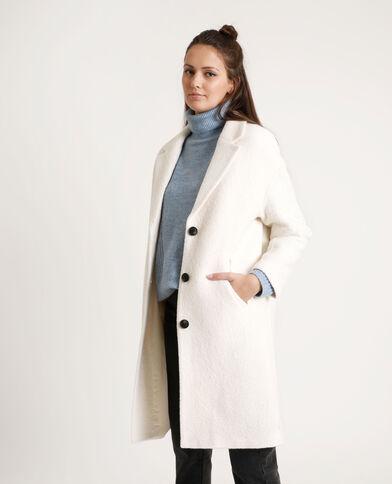 Manteau long avec laine blanc cassé