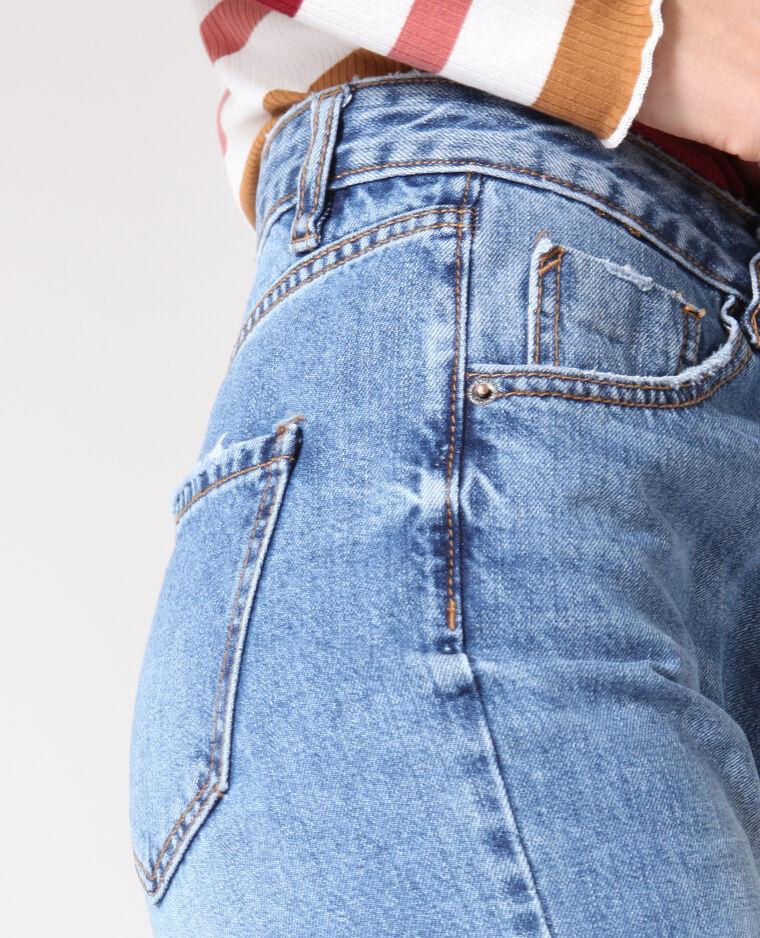 Jean droit taille haute bleu denim