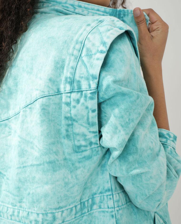 Veste longue en jean turquoise - Pimkie