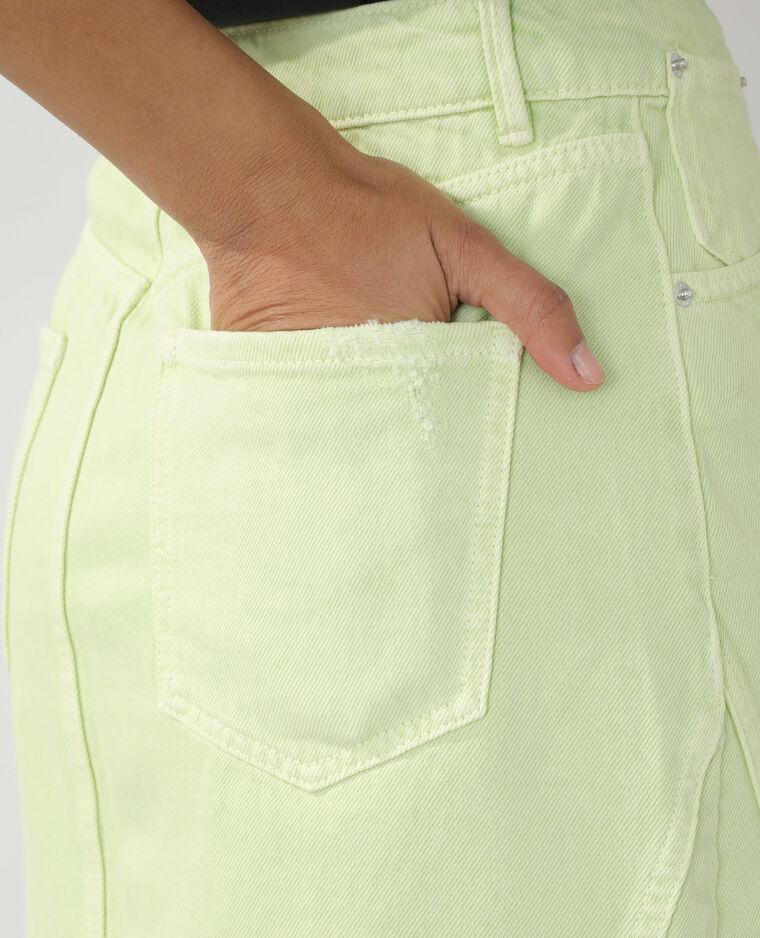 Jupe destroy en jean vert d'eau - Pimkie