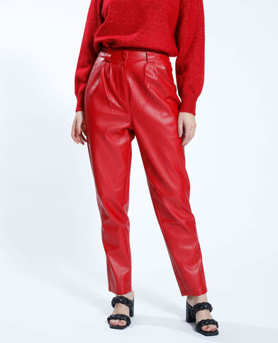 Pantalon mom en simili cuir rouge - Pimkie