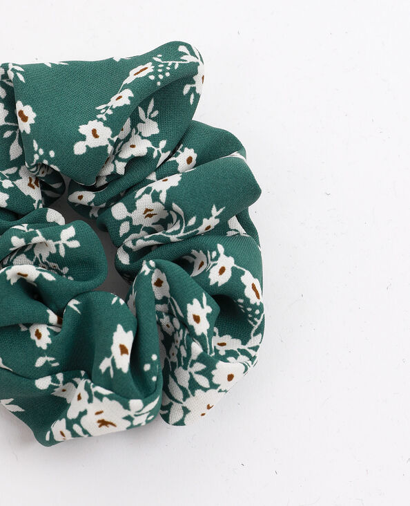 Chouchou à petites fleurs vert