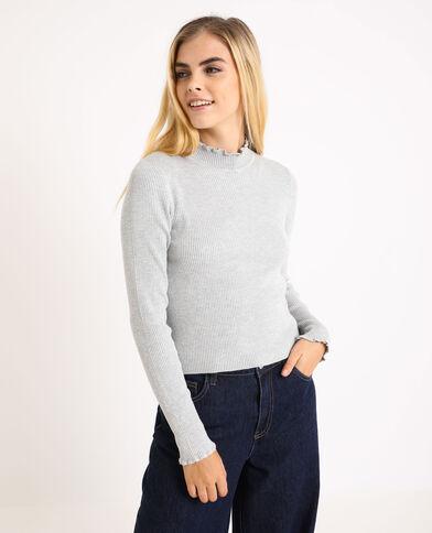 Petit pull côtelé gris chiné