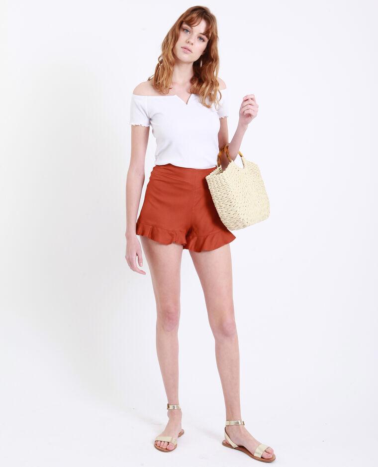 T-shirt petit col V blanc