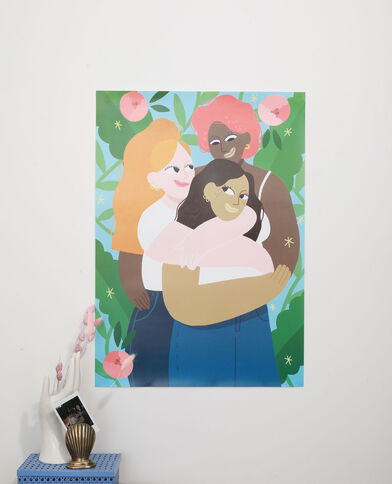 Affiche grand format 3 femmes - Collab Lavilletlesnuages vert - Pimkie