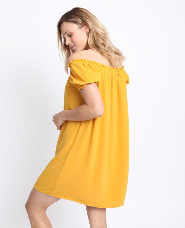 Robe à col bardot jaune