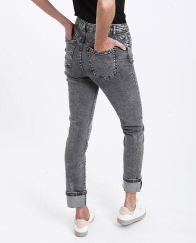 Jean straight high waist gris