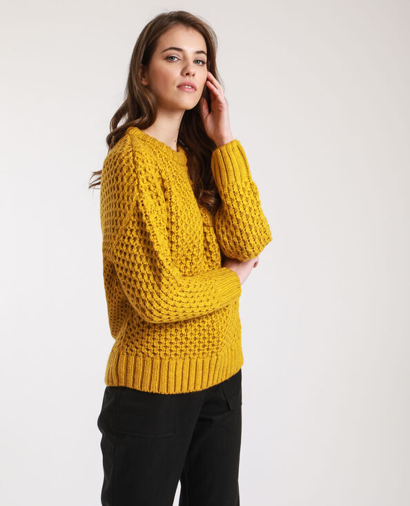 Pull point fantaisie jaune moutarde