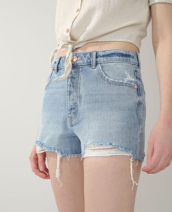 Short en jean destroy bleu clair