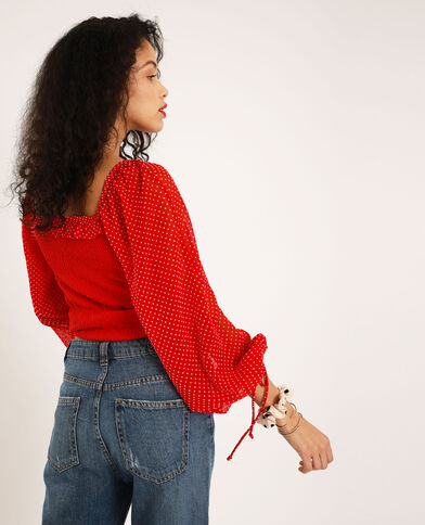 Top à smock rouge