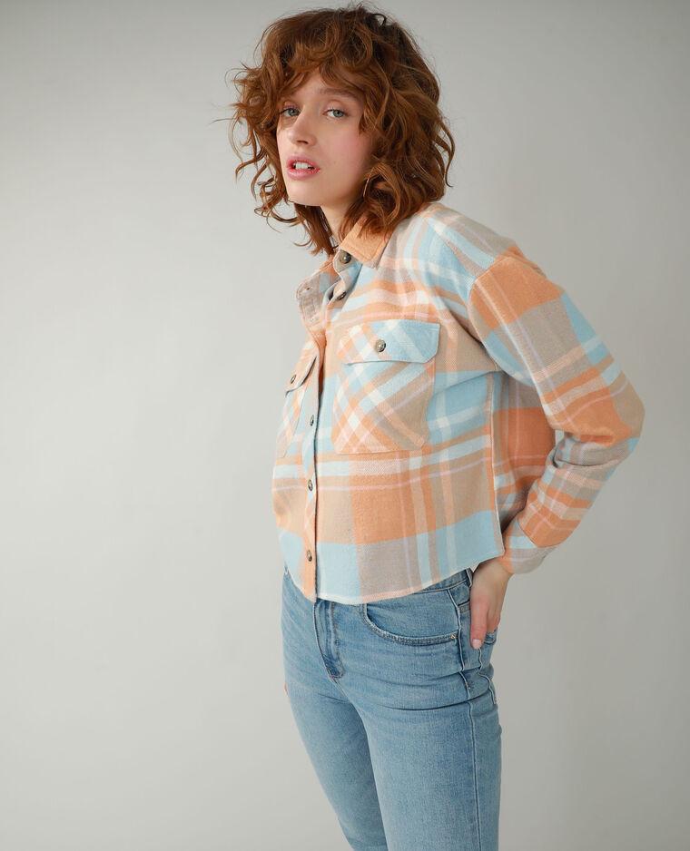 Chemise à carreaux orange - Pimkie