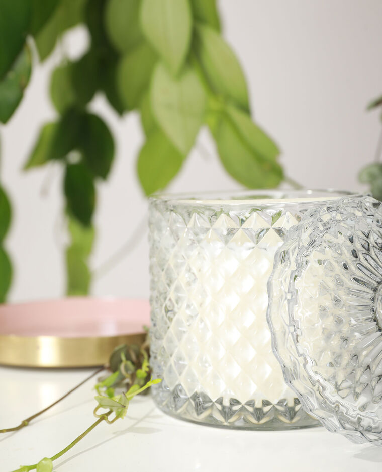 Bougie baroque avec verre teinté blanc cassé - Pimkie