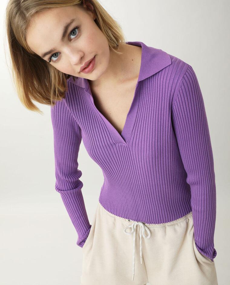 Top maille côtelée violet