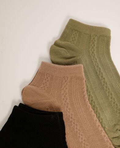 Lot de 3 paires de chaussettes basses à motifs fantaisie noir - Pimkie