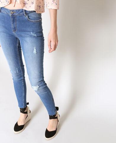 Jean skinny zippé bleu foncé