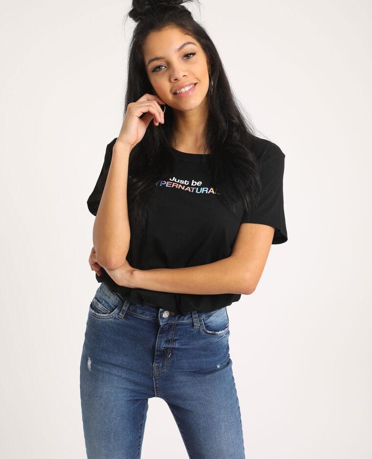 T-shirt à message noir - Pimkie
