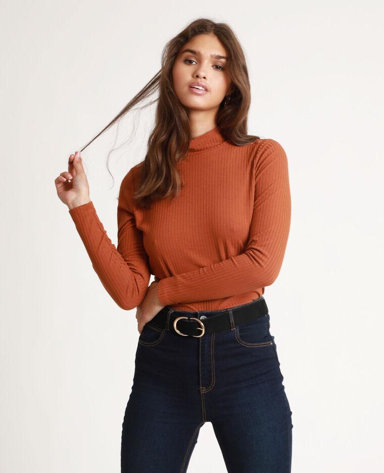 T-shirt côtelé marron