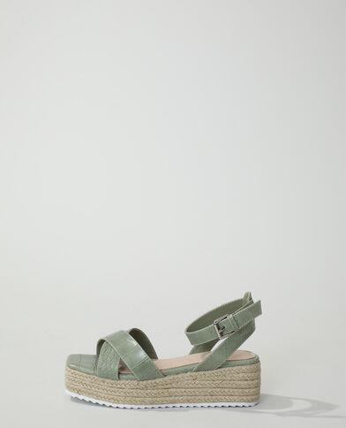 Sandales compensées croco kaki - Pimkie