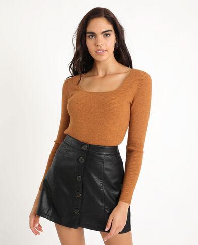 Pull chiné marron
