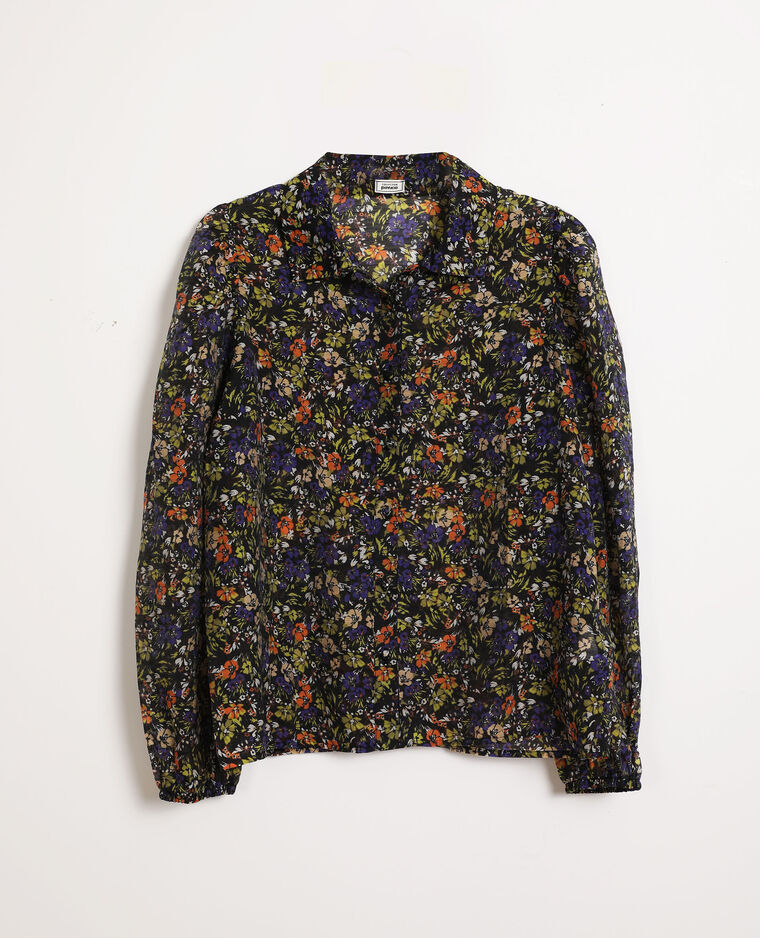 Chemise à fleurs noir