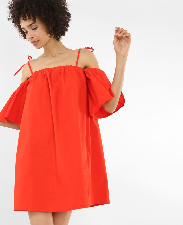 Robe ample à manches peekaboo rouge - Pimkie