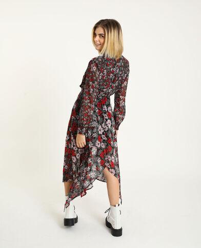 Robe longue noir + rouge - Pimkie