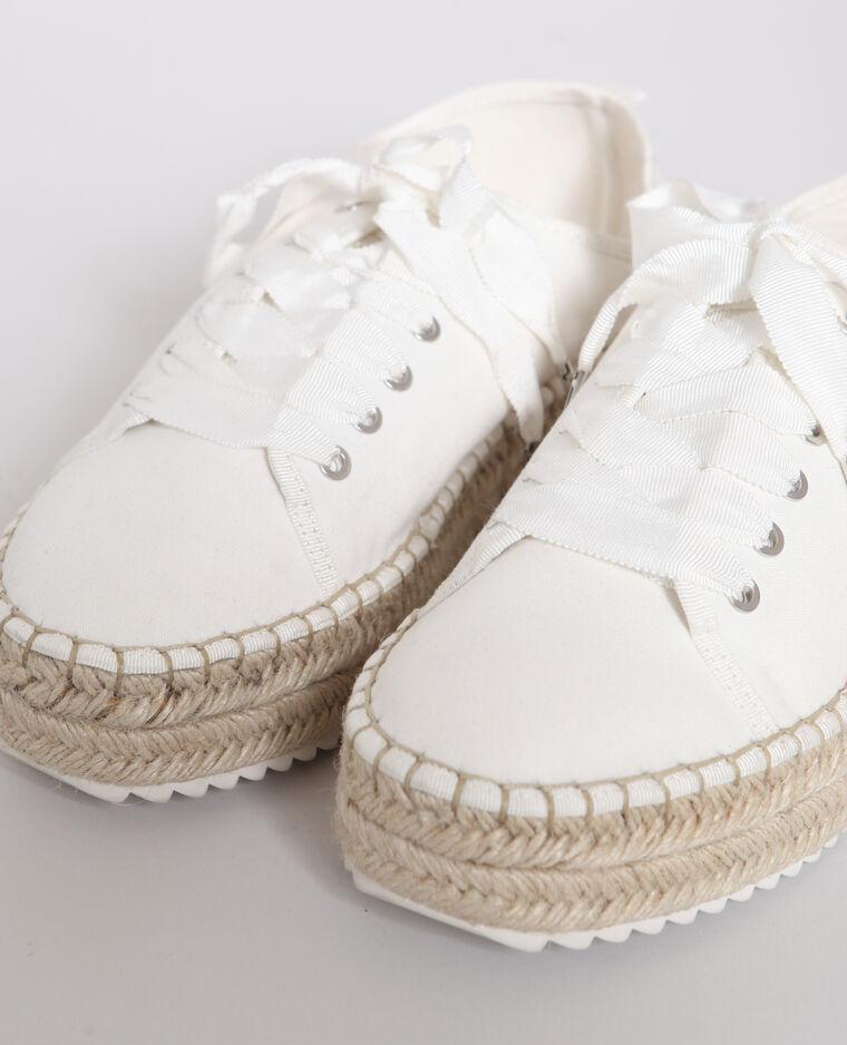Baskets avec semelle en paille blanc