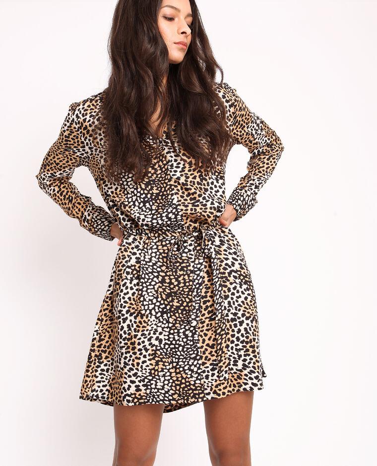 Robe chemise léopard beige