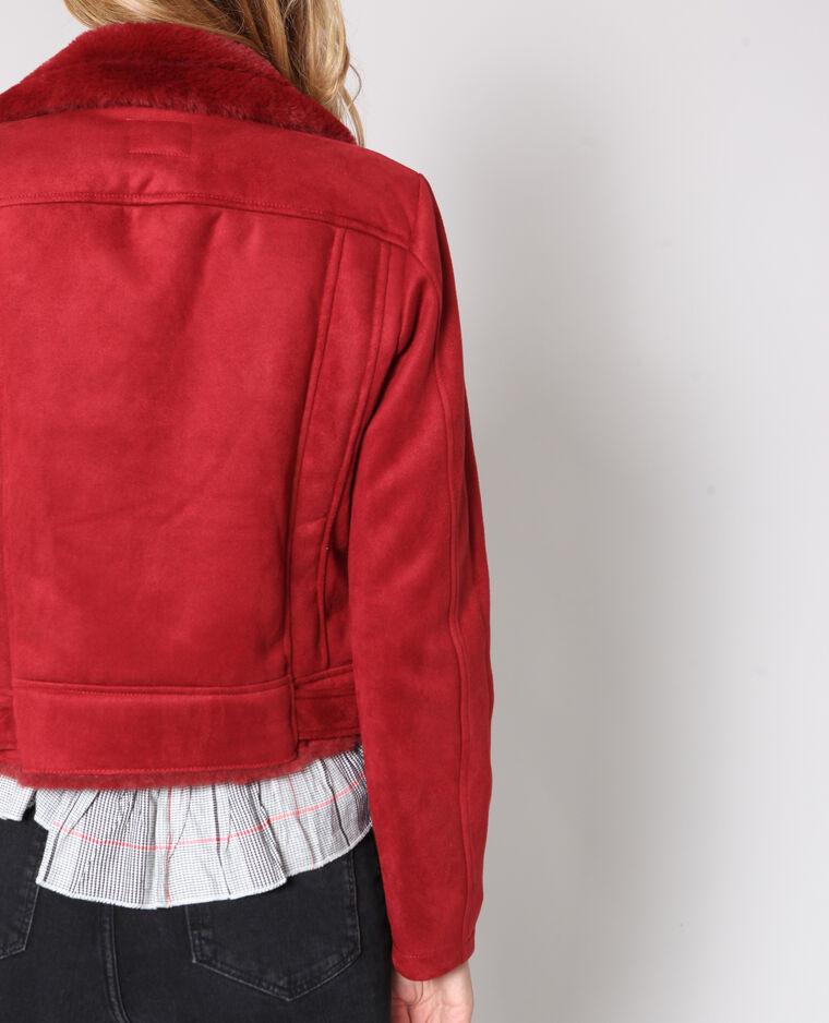Veste perfecto suédine rouge
