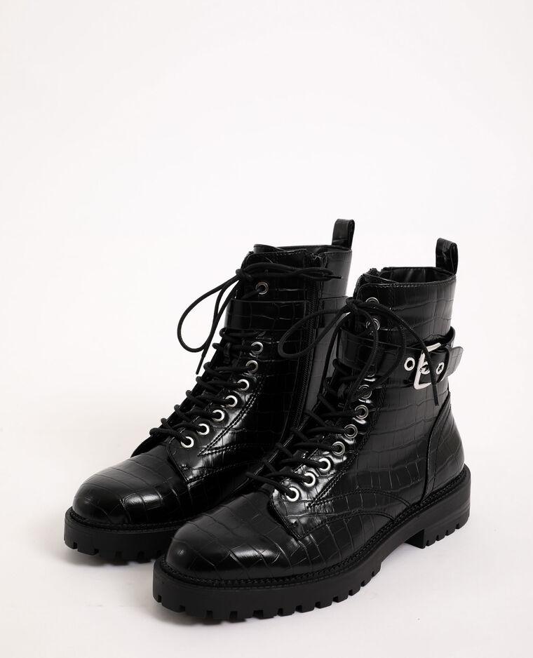 Boots rock en faux cuir noir