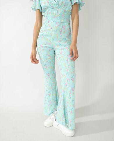 Pantalon fleuri turquoise - Pimkie