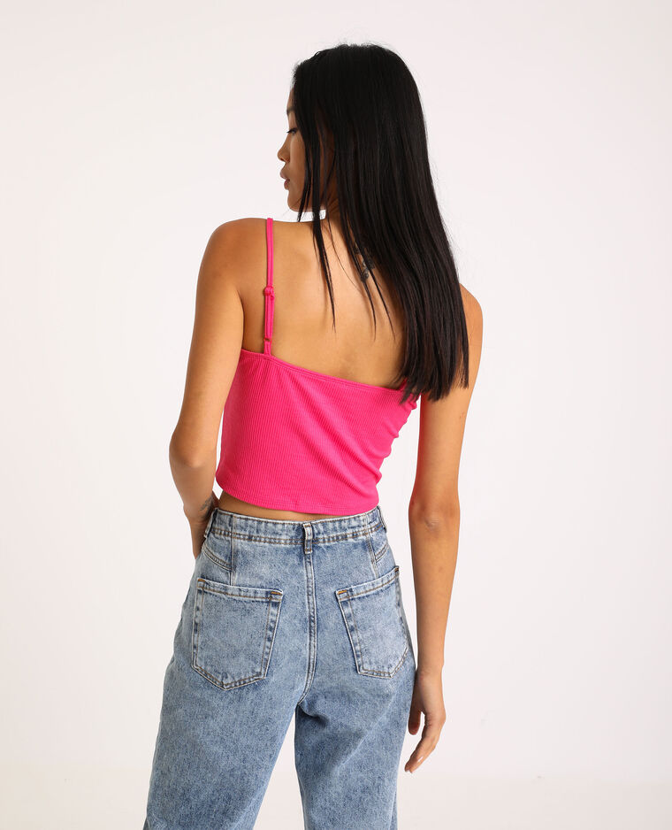 Cropped top à agrafes rose fuchsia