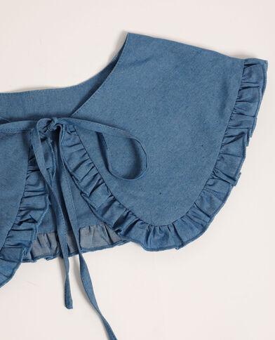 Maxi col à nouer en jean bleu - Pimkie
